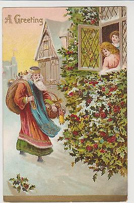 Pc Father Christmas  Embossed Postcard Posted 1909