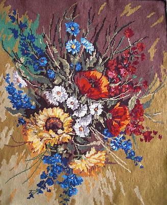 """Vintage needlepoint flower Bouquet  completed cotton tapestry 26""""x21"""