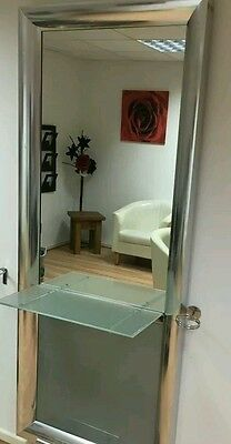 Hair Salon Work Station Mirror Glass Shelf, Two Available
