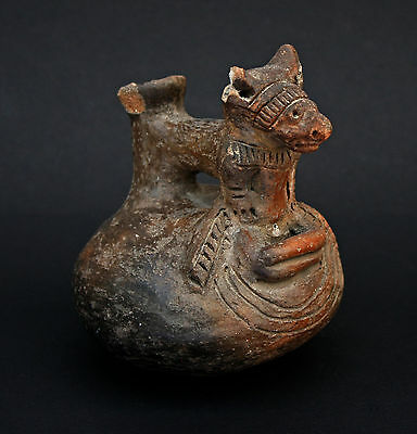 Antique Pre Columbian Pottery Dog Vessel - French Flea Market Find