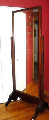 Mahogany antique floor, stand ,swing mirror