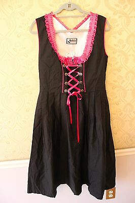 NWT German,Trachten,Oktoberfest,Dirndl Dress, Sz. L ,BLACK w Pink