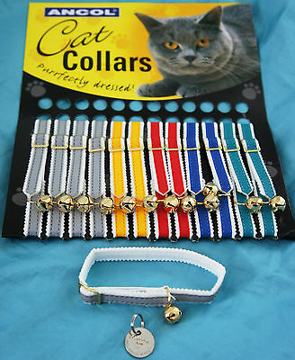 Ancol Reflective Cat Kitten Collar & Bell & Id Tag Hand Or Machine Engraved Free