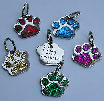 Dog Tag Hand Engraved Glitter Paw Shaped Id Tags Choice Of Colour