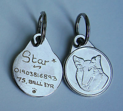 Rough Collie Dog Tag 25Mm Hand Or Machine Engraved Tag