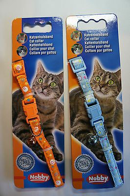 Designer Safety Cat Collars Bright Colours Funky Design Bells & Engraved Id Tag