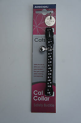 Ancol Cat Safety Clip Collar Snap Buckle Black With White Spots And Id Tag