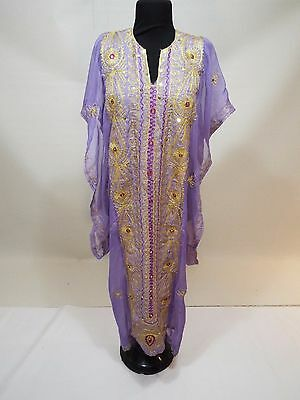 Girls lavender gold embroidered Indian dress kuftan caftan abaya gown free size
