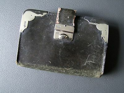 Vintage leather purse with silver hallmarked corners and several compartments