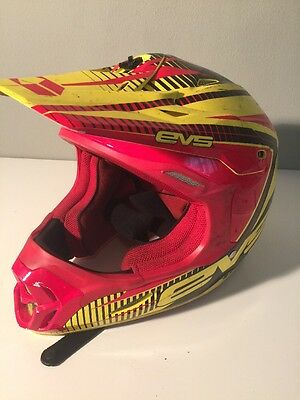 EVS T7 Pulse Yellow Red Motocross Dirtbike MX MTB Off Road ATV Helmet SIZE L