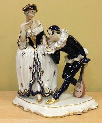 "Large Royal Dux Porcelain Figurine Flirting Pierrot 15.5"" Very Nice!"