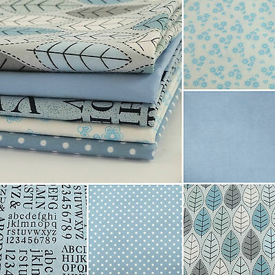 100% COTTON FABRIC Blue Material Sewing Craft Quilting METRE Fat Quarter Bundle