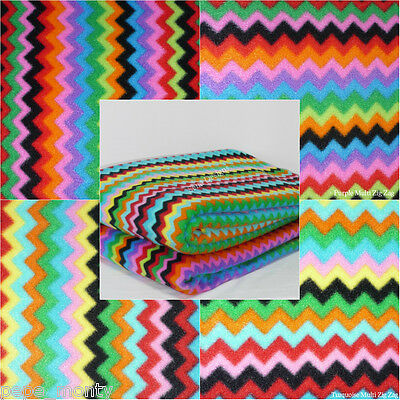 Polar fleece anti pill fabric Premium Quality soft material Multi Zig Zag Q1299