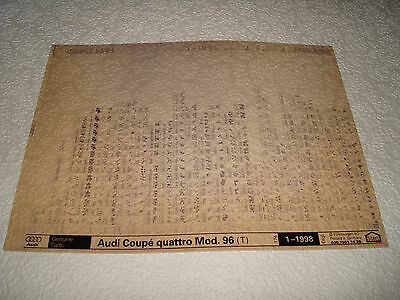 Audi Coupe Quattro Mod.96 (T) Genuine Parts Microfiche Full Set Of 1 - Jan.1998