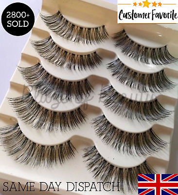 Wispy Long False Eyelashes 5 Pairs Volume Natural Fake Lashes Uk Seller #03