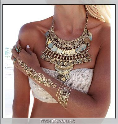 Temporary arm hand body jewellery jewelry tattoo sticker metallic gold silver