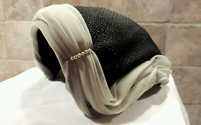 1950s Black Cocktail Hat Grey trim and Pearls