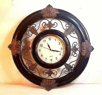 """LARGE BLACK & COPPER FINISHED WROUGHT IRON WALL CLOCK 23.5"""" IN DIAMETER Must See"""