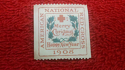 American Red Cross 1908 Stamp-Merry Christmas & Happy New Year Excellent! #2