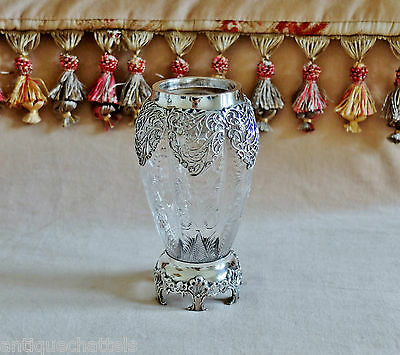 EDWARDIAN WILLIAM COMYNS SILVER & GLASS VASE Antique Cut Glass & Silver Vase