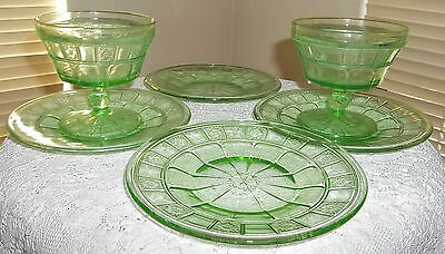 Lot 6  Green Depression Doric & Pansy Jeannette Glass Co Sherberts & Saucers