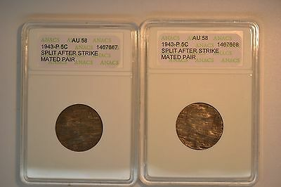 1943-P Jefferson Nickel Mated Pair- ANACS AU-58.  Split After Strike.