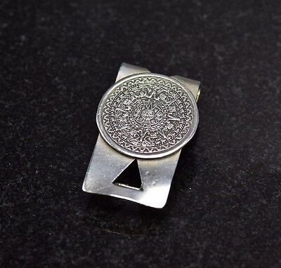 Mexico Sterling Silver Money Clip with Mayan Calendar