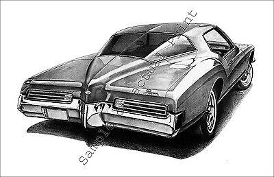 Beautiful 1971 (71) Buick Riviera 11 x 17 signed drawing/picture/print