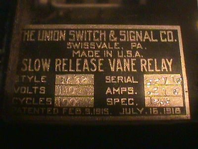 UNION Switch SIGNAL RELAY SLow RELEASE VANE SV 32 110 Volts 100 CYCLES .22 Amps