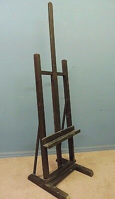 Antique Edwardian Oak Professional Artist Studio Easel Painting