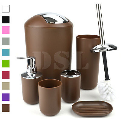 2017 New Style 6pcs Bathroom Accessory Set Tumbler Toilet Brush Lotion Soap Bin