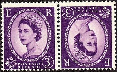 1958 Great Britain Queen Elizabeth 3p Tete-beche MNH pair Sc 358 SG 575 Wmk 322