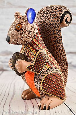 A1120 Fine Squirrel Alebrije Oaxacan Wood Carving Painting Handcrafted Folk Art