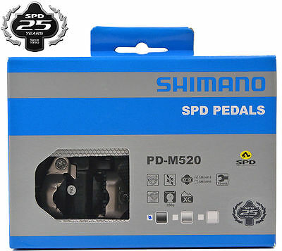 Shimano PD-M520 MTB/Road/Touring Clipless Bike Pedals w/SPD Cleats Black NEW!