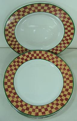 4 Block Country Farm Checkered Dinner Plates By Gear Excellent Condition