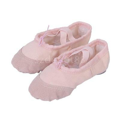 Toddler Girls Pink Canvas Ballet Dancing Dance Shoes Slippers US 8#