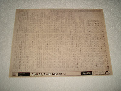 Audi A6 & Avant Model 1997 (V) Parts Microfiche Full Set Of 1 - Dated Jan.1998