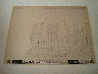 Audi 80 & 90 Quattro Mod.85-87 (F-H) Parts Microfiche Full Set Of 1 - Jan.1998