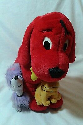 Official Large Clifford The Big Red Dog With T-Bone & Cleo, Rare Soft Plush Toy