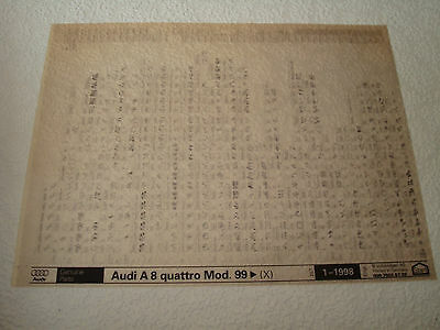 AUDI A8 QUATTRO MOD.99on (X) PARTS MICROFICHE FULL SET OF 1 - DATED JANUARY 1998