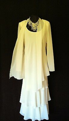 CATTIVA Size 16 Cream Wedding Outfit Dress & Jacket Mother of the Bride Designer