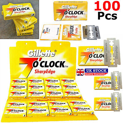 100 Blades Gillette 7 O'Clock Sharp Edge Double Edge Razor Blades
