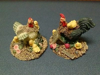 Rooster and Hen with Chicks Figurines