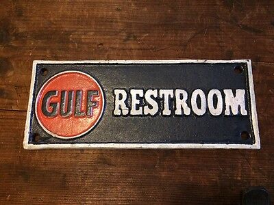 Cast Iron Gulf Restroom Sign Gas Pump Station Plaque Stop Farm