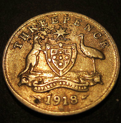 1918 M Australia 3d Threepence ** ERROR DIE CRACK (small) ** #18m-3-01