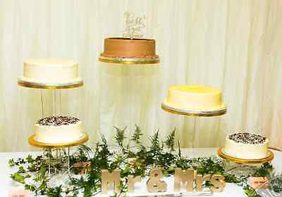 Set Of 5 Wedding Cake Stands Cascade Glass-Effect Acrylic Invisible Amazing
