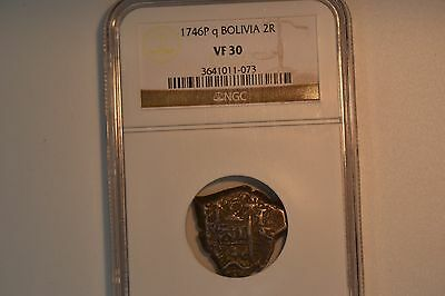 Bolivia: 1746-P q  2 Reales- NGC VF-30.  Awesome coin.