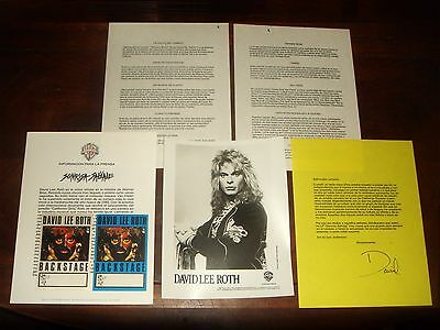 DAVID LEE ROTH VAN HALEN 1986 WEA RECORDS PRESS KIT in SPANISH, BACKSTAGE PASSES