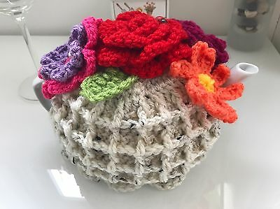 HAND KNITTED  CROCHET TEA COSY FOR A SMALL 2-4 Cup TEAPOT FLOWER GARDEN TEA ROOM