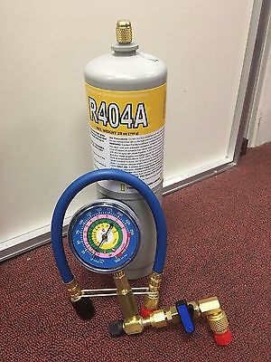 """R404a, 404a, HP62, Refrigerant 28oz, Includes """"CHECK & CHARGE IT"""" Gauge and Hose"""